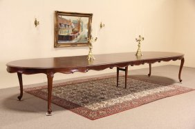 Oval Carved Country French 1950 Vintage Dining Table,