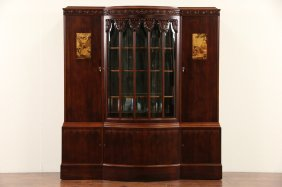 French Art Deco 1920 Antique China Or Bar Cabinet,