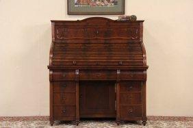 Empire Biedermeier 1880 Antique Rolltop Two Level Desk,