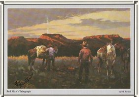 Cowboy Artist Bill Bender Signs Print -- Red Man's