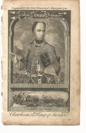 1752 Engraving Charles Xii Sweden