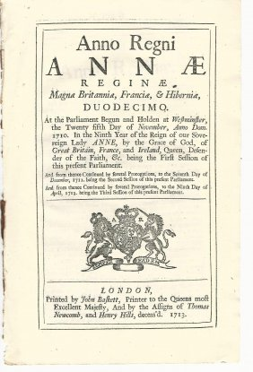 1713 English Act Queen Anne