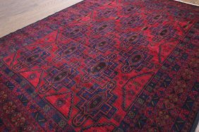 7'x10' Red Afghan Tribal Hand Knotted Wool & Wool Area