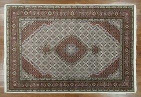 Tabriz Wool & Silk 6'x9' Ivory Hand Knotted Oriental