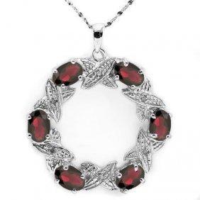 Natural Persian Garnet & Diamond Pendant