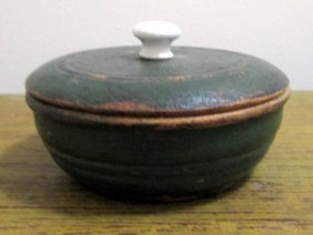 Painted Treen Lidder Container