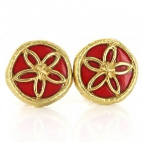 Tiffany & Co Schlumberger Enamel Flower Clip Earrings
