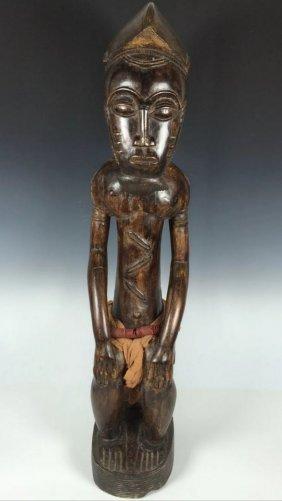 Large Solid Wood Baule Statue