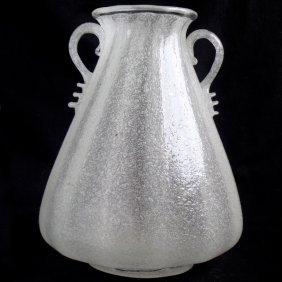 Seguso Vetri D' Arte Murano White Pulegoso Flower Vase
