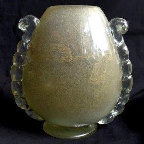 Seguso Vetri D' Arte Murano Gold Sommerso Flower Vase