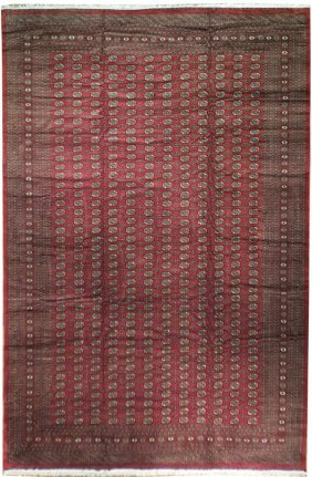 13x19 Handmade Transitional Mori Bokhara Rug Red Wool