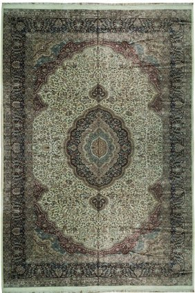 12x18 Handmade Kashmir Indian Tabriz Rug Ivory Art Silk
