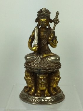 White And Gold Gild Lady Buddha