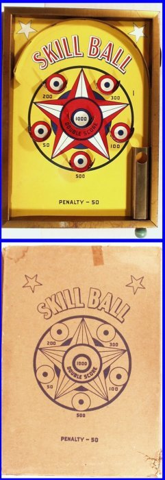 Vintage #200 Tin Lithographed Skill Ball Game On Stand,