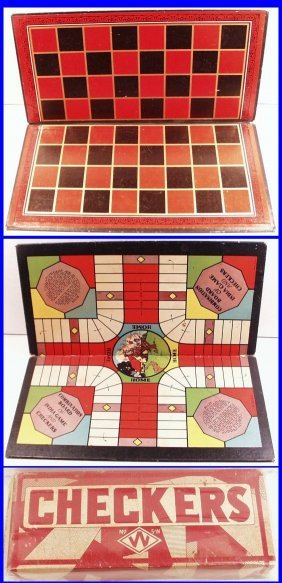 Vintage 1930's Checkers 2-sided Board Game. A Classic,