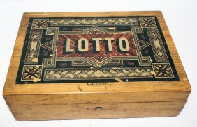 Vintage Turn Of The Century Lotto Game In Wooden Case,