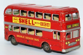 Vintage Tin Double Decker Bus, Mobile & Shell Oil Gas