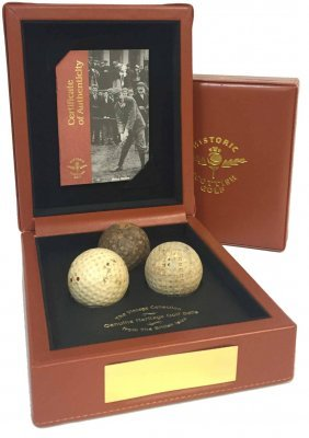 Historic Scottish Golf Three Vintage Golf Balls In Case