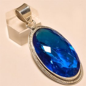 Swiss Blue Topaz Pendant Solid Sterling Silver