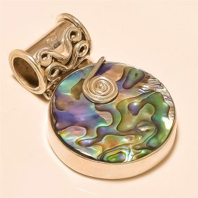 Abalone Shell Pendant Solid Sterling Silver