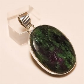 Ruby Zoisite Pendant Solid Sterling Silver