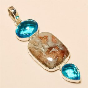 Crazy Lace Agate/blue Topaz Pendant Solid Sterling