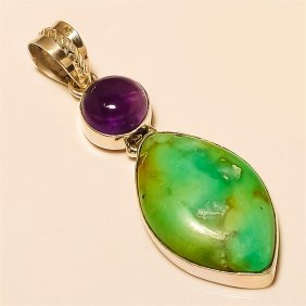Turquoise/amethyst Pendant Solid Sterling Silver