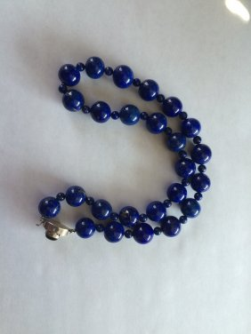 Natural Lapiz Lazuli Round Bead Necklace