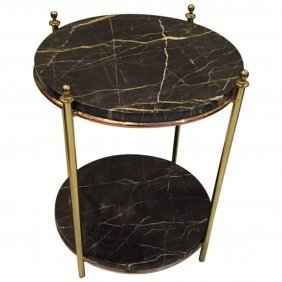 Jacques Adnet French Art Deco Marble Brass Copper Table