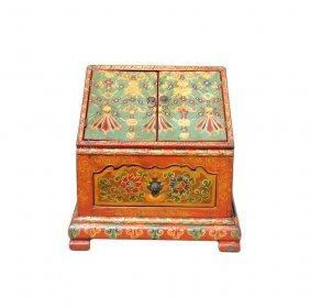 Chinese Tibetan Orange Blue Jewel Prayer Table Chest