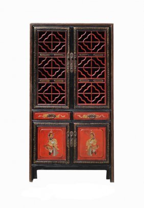 Chinese Vintage Red Gold Opera Painting Kitchen Storage