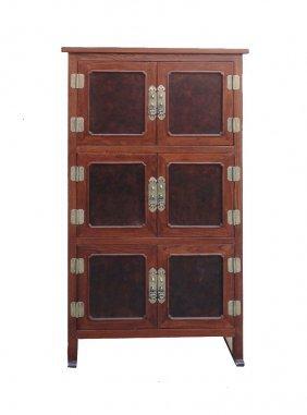 Tall Korean Burl Wood Accent Multiple Shelves Storage