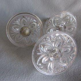 3 Early American Pattern Glass Curtain Tiebacks