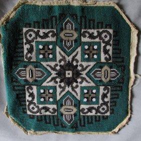 C1870 Victorian Beaded Panel Handbag Textile Footstool
