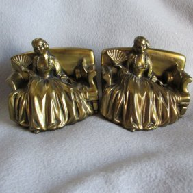 Antique Art Deco Bookends Lady With Fan