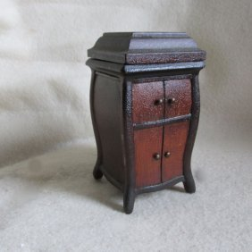 C1920s Folk Art Victrola Jewelry Box, Hand Carved Wood