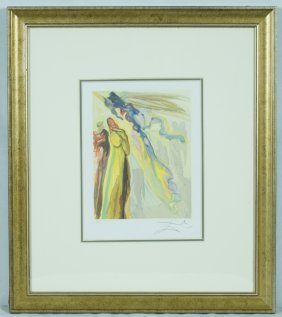 "Salvador Dali ""two Wreaths Of Spirits"" Offset Print"