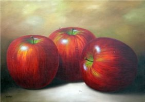 Red Apples-oil On Canvas Original Arcaraz