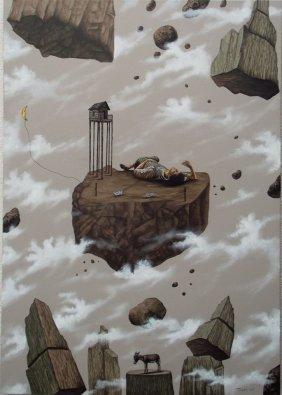 Original Mixed Media-mexican Surrealist