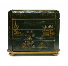 Chinese Black Golden Scenery Jewelry Box Home Decor
