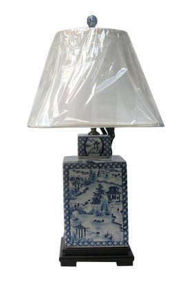 Chinese Blue & White Porcelain Square Jar Table Lamp