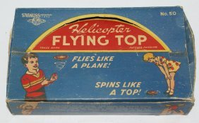 Vintage Tin Lithographed Helicopter Flying Top Set #50,