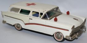 Vintage 1950s Tin Red Cross Ford Ambulance 2-door