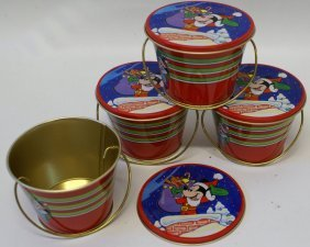 Lot Of 4 Vintage Disney Holiday Collector Tin Bucket