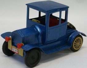 Vintage Tin Friction Model A Coupe, Blue, Friction