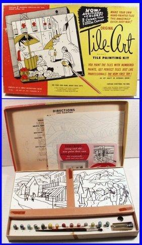 Vintage 1953 Original Tile-art Tile Painting Kit Set In