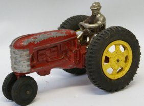 Vintage Hubley Red Farm Tractor With Cast Iron Driver