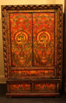 Painted Tibetan Cabinet Specially Made For A Large