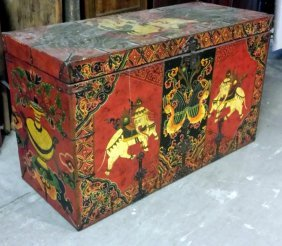 Large Tibetan Trunk With Elephants And Snow Lion