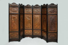 Vintage Chinese Colonial Six Fold Woven Bamboo Screen